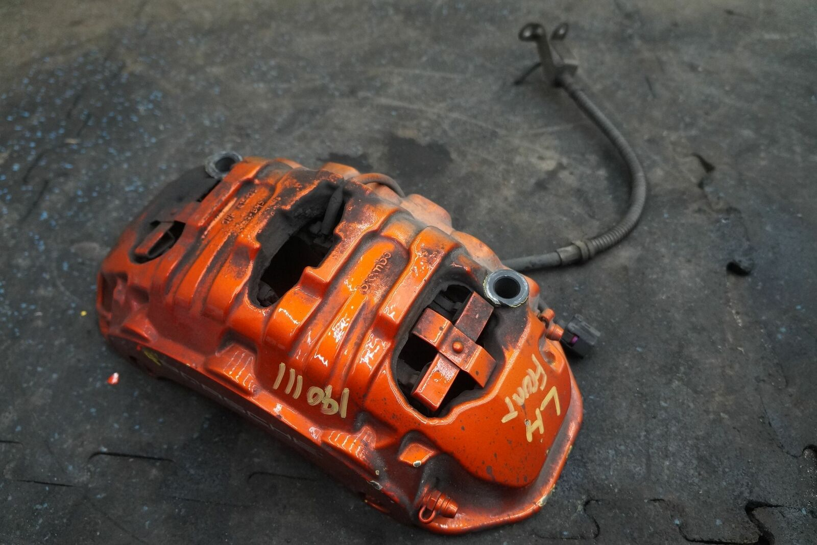 Front Left Brake Caliper Bracket Painted Orange Oem Porsche Panamera